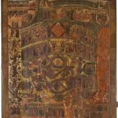 BEDEUTENDE UND MONUMENTALE IKONE MIT DEM JÜNGSTEN GERICHT, Russland, 17. Jh., 145 x 122 cm