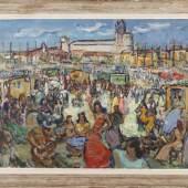 """KatalogNr: 791 - Standort: Lübeck Jean Baptiste Conio (1866), Öl/Lw, rücks. signiert., """"Les Gitans in Sainte Marie de la Mer"""", um 1930, 89x115cm, gerahmt  RP: 1200,00 €"""