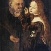 Lucas Cranach d. Ä. 1472–1553 (Umkreis) Ungleiches Paar (Unequal Couple), 2. Hälfte 16. Jh.  Tannenholz 34 x 24 cm Sammlung Würth, Inv. 6546