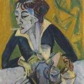 Ernst Ludwig Kirchner, Erna mit Zigarette, 1915, Öl auf Gewebe aus Jute und Leinen, 73 x 61 cm © Bayerische Staatsgemäldesammlungen, Sammlung Moderne Kunst in der Pinakothek der Moderne, München