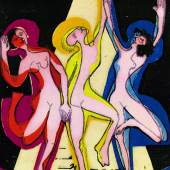 Ernst Ludwig Kirchner, Farbentanz, 1933, Farbholzschnitt, 50 × 34,7 cm (Druck), 60 × 43,3 cm (Blatt) © E. W. K., Bern/Davos