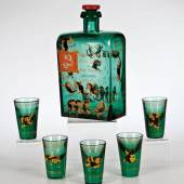 Sechsteiliges Wodkaservice, Diat`kow, Glaswerke Maltsew, Entw. Elisabeth Bohm, 1897, H.8,3/18,5 cm (6592_1)