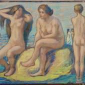 Ohne Titel (Strandszene), um 1905 Untitled (At the Beach), c1905  Künstler:     von Hofmann, Ludwig Schätzpreis:     7000 - 8000 € Los:     121C 48