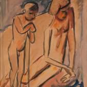 HERMANN MAX PECHSTEIN (1881-1955), FISCHER (1919). Aquarell auf bräunlichem Papier. SM 45 x 34 cm. Provenienz: Privatsammlung Nordrhein-Westfalen. Limit 5.000,- €.