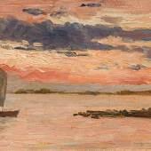 Marie Egner Die Lagune von Grado bei Sonnenuntergang Öl auf Karton; 14 × 23,5 cm Meistbot: € 12.000 / Kaufpreis: € 15.120