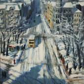 Elisabeth Wolf,Berliner Straßenansicht im Winter/Öl auf Leinwand/61,5 x 46,5 cm/1934