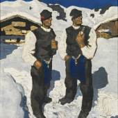 """Alfons Walde * (Oberndorf 1891 - 1958 Kitzbühel)  'Bauernsonntag', ca. 1930 oil on canvas; 71.5 × 62.5 cm signed (lower left): A. Walde inscribed by the artist on the reverse on original label: """"Bauernsonntag"""" Original frame acquired directly from the artist; since then in Austrian private property The work is registered in the archive Alfons Walde under the number D-Fl-217. Confirmation of authenticity by Peter Konzert, Innsbruck, 07. 04. 2016, is enclosed. estimate€ 250,000 - 500,000"""