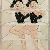 Peter Sengl (Unterbergla/Stmk. 1945 geb.) Zirkusnummer - Variation, Rosaskasten, 1977 Öl auf Leinwand; gerahmt; 150 × 120 cm,  RUFPREIS € 4.500