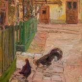 Egon Schiele (Tulln 1890 – 1918 Wien) Grüner Zaun (Schmiedehof, Klosterneuburg), 1907 Öl auf Karton; 24,8 × 17,5 cm EUR 150.000-300.000