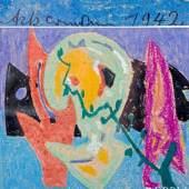 ACKERMANN, MAX (1887-1975): Ohne Titel (Abstraktion), 1942  ACKERMANN, MAX (1887-1975): Ohne Titel (Abstraktion), 1942  Pastellkreide/Karton, u.l. sign. u. dat., ca. 16,3x17,7 cm, ...  Aufrufnummer: 1824 Aufrufpreis: 600 Euro inkl. Aufgeld