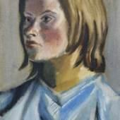 Curt Querner, Bildnis Inge Auxel mit blauem Haarband. Wohl 1964 oder 1969. 48,5 x 31,5 cm. 4200 €