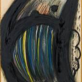 Arnulf Rainer (Baden 1929 geb.) Regentropf-Kopf (Gespenstl), 1965 Mischtechnik auf Karton auf Holzplatte; 101 × 66,4 cm EUR 35.000-70.000