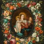 Bildlegende Jan Brueghel der Jüngere Maria mit Kind und Engel im Blumenkranz, um 1630-35 Öl auf Kupfer; 62 × 51 cm EUR 35.000-70.000