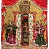Ikone mit der Darstellung des Heiligen Spiridon, Griechenland, um 1700, 21,5 x 18,5 cm (6852_1)