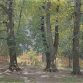 "Otto Altenkirch ""Vor dem Hellergut"". 1923.  95,5 x 120,5 cm, Ra. 114,3 x 129,2 cm.4800 €"