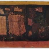 "Hermann Glöckner ""Helle Insel in rotem Grund vor Gelb"" (Tafel). 1956. 18 x 23,4 cm (unregelmäßig), Ra. 27,5 x 33 cm. 3500 € ** Zzgl. Folgerechtsabgabe 2.00 %."
