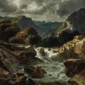 """Lot 20 Alexandre Calame (1810 – 1864) """"Torrent de montagne"""". ZUSCHLAG: CHF 36'000."""