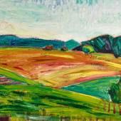"""Lot 73 Cuno Amiet (1868 – 1961) """"Landschaft"""". Öl auf Leinwand, mgr. und dat. (19)14 u.r., 59x73 cm Schätzpreis: CHF 150'000.- , ZUSCHLAG: CHF 130'000."""