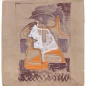 """Hermann Glöckner """"Kurven + Kopf"""". 1953.  Tempera auf braunem Packpapier. Unsigniert. U.re. in Blei betitelt. Verso mit einem weiteren Profil und Kurven in Tempera sowie perforierten Maßzeichnungen in Graphit versehen, mehrfach von Künstlerhand mit Bemalungen versehen sowie bezeichnet und datiert. Hinter Acrylglas in einer weiß lasierten Holzleiste gerahmt. 3500 €"""