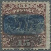 Los 6997 Vereinigte Staaten von Amerika 1869 15c. brown & blue with INVERTED CENTER, used with cork cancel, small imperfections (tiny breaks in grill at right, small corner crease), but still A FINE EXAMPLE OF THIS RARITY. Phil. Found. certificates (1962, 2006).Ausruf. 14.000
