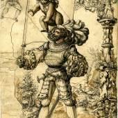Hans Funk ( um 1470- um 1540), Scheibenriss mit dem Bannerträger der Stadt Bern, 1539, Feder in Schwarz, Braun; Privatbesitz