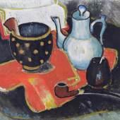 MIT DEM AUGE DES KÜNSTLERS Gerhild Diesner, Stillleben mit Pfeife, 1943, Öl auf Leinwand, 40,5 x 49,7 cm, aus der Sammlung Wilfried Kirschl  © TLM