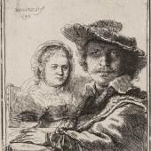 Rembrandt van Rijn, Selbstbildnis mit Saskia, 1636 Kupferstich-Kabinett  © SKD, Foto: Andreas Diesend