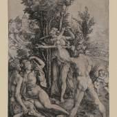 Albrecht Dürer, Herkules am Scheidewege (Die Eifersucht; der große Satyr), Kupferstich, ca. 1498, Inv.nr. 1175 (2. Exemplar Nr. 1149), Bartsch 73 – Graphisches Kabinett, Wallraf-Richartz-Museum
