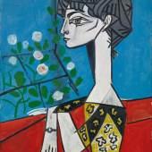 Bild: Pablo Picasso, Madame Z (Jacqueline mit Blumen), 1954, Öl auf Leinwand, Sammlung Catherine Hutin © Succession Picasso/VG Bild-Kunst, Bonn 2019. Photo: Claude Germain