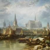 """James Webb (1825 – 1895)  """"Ansicht von Köln mit dem unvollendeten Dom""""  Taxe: 100.000 – 150.000 Euro"""
