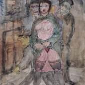 """Bruno Voigt """"Nutte"""". 1933.  Aquarell und Federzeichnung in Tusche. U.re. monogrammiert """"V"""" und ausführlich datiert. Verso in Blei eingekreist nummeriert """"K88"""" und betitelt u.re. Auf Untersatzkarton montiert und hinter Glas in hochwertiger, silberfarbener, patinierter und punzierter Modell-Leiste gerahmt. 2800 €"""