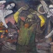 """Hans Jüchser """"Das Gesicht des Jesaja"""". 1954.  Öl auf Leinwand. Signiert """"Jüchser"""" und datiert u.re. Verso vom Künstler in Pinsel betitelt, datiert und bezeichnet sowie nochmals signiert und bezeichnet """"Hans Jüchser Dresden - Nr 55 / Wachwitzgrund 56"""". In einer schlichten, hellgrau gefaßten Leiste gerahmt. WVZ Schmidt 54 (55).  18500 €"""