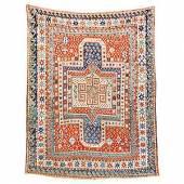Kat.-Nr.: 10 7035            Sewan Kazak (Schildkazak) antik,           Zentralkaukasus, 19. Jahrhundert,           Wolle geknüpft auf Wolle, ca.  228 x           179 cm            Limit: 5.000,-€