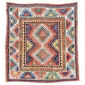 Kat.-Nr.: 10 7066       Bordjalou Kazak antik,          Zentralkaukasus, Mitte 19. Jahrhundert,       Wolle geknüpft auf Wolle, ca. 201 x 189       cm       Limit: 5.000,- €