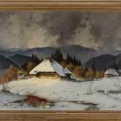 """""""Nasser Oktoberschnee im Zastlertal"""" von Karl Hauptmann (Freiburg 1880 - 1947 Herzogenhorn) fand für EUR 5.000,-  (Ausruf EUR 1.800,-)."""