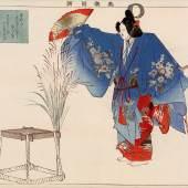 Japanisches Faltbuch Nôgaku zue (Bilder von Nô-Aufführungen), Szenenbild zum Nô-Stück Izutsu (Am Brunnenrand), Farbholzschnitt, 1897 © Theatermuseum
