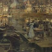 HEINRICH HERMANN (1862 Düsseldorf - 1942 ebenda), Fischmarkt in Dordrecht, Provenienz: Rheinische Privat-sammlung. Limit 5.000,- €