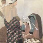 CARL MOSER Auf dem Fischmarkt, 1905 Öl und Tusche auf Leinwand 82 x 69 cm