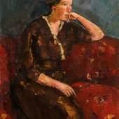 Anton Faistauer Junge Frau in rotem Kleid auf rotem Sofa, 1915 Schätzpreis: 50.000 – 80.000 €