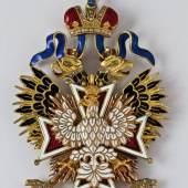 Orden vom Weißen Adler - Ordensdekoration mit Diamanten, St. Petersburg, Ende 19. Jh, (7206-12) Eine von sechs Ikonostase–Ikonen, Nordrussland, 17. Jh. (7184-1-3)