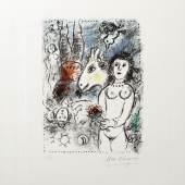 """CHAGALL, MARC: """"Nude with a little Bouquet""""  1 Bl. Farb-Lithographie auf Arche-Papier, unten rechts signiert ...   Aufrufnummer: 1611 Aufrufpreis: 7.800 Euro inkl. Aufgeld"""