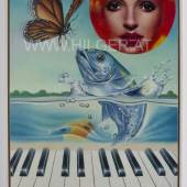 ERRÓ, La Truite de Schubert or Sonat for Piano and Fish, 1977, acrylic on canvas, 100x70 cm, 39x28 in