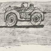 Philip Guston, Car, 1980, Lithographie, 508 x 762 mm, Privatsammlung  Foto: Staatliche Graphische Sammlung München © The Estate of Philip Guston, New York