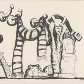 Philip Guston, Studio Corner, 1980, Lithographie, 813 x 1067 mm, Privatsammlung  Foto: Staatliche Graphische Sammlung München © The Estate of Philip Guston, New York