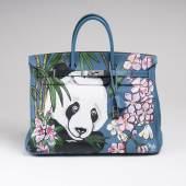Hermès, Handtasche 'Birkin 40' mit Handbemalung von Rocky Mazzilli (Lot. 733)