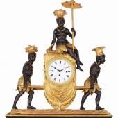 """Kommodenuhr """"au bon sauvage"""" mit Augenwender, Wien, um 1800, H: 63 cm Bild: Lilly's Contemporary Art Exclusive Antiques"""