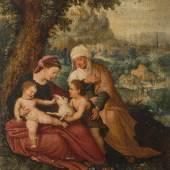 HERRI MET DE BLES (Um 1500/1510 Bouvignes-sur-Meuse (Dinant) - 1555/1560 Antwerpen oder Ferrara), HEILIGE FAMILIE MIT JOHAN-NESKNABEN, Öl auf Eichenholztafel. 19,3 x 16,3 cm