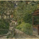 Rudolf von Alt (1812-1905), Bad Gastein, Garten der Familie Alt (rechts in der Laube Louise Alt), 1890, Aquarell, 276 x 387 mm  © Staatliche Graphische Sammlung Munich
