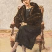 MAX LIEBERMANN (1847 Berlin - 1935 ebenda), Bildnis Lola Leder im Pelzmantel, sitzend (1922), Öl auf Holz. 55 x 40 cm