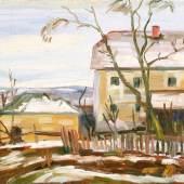 Karl Adool Krepcik, Bauernhof im Winter/Öl auf Leinwand/47 x 64,5 cm/